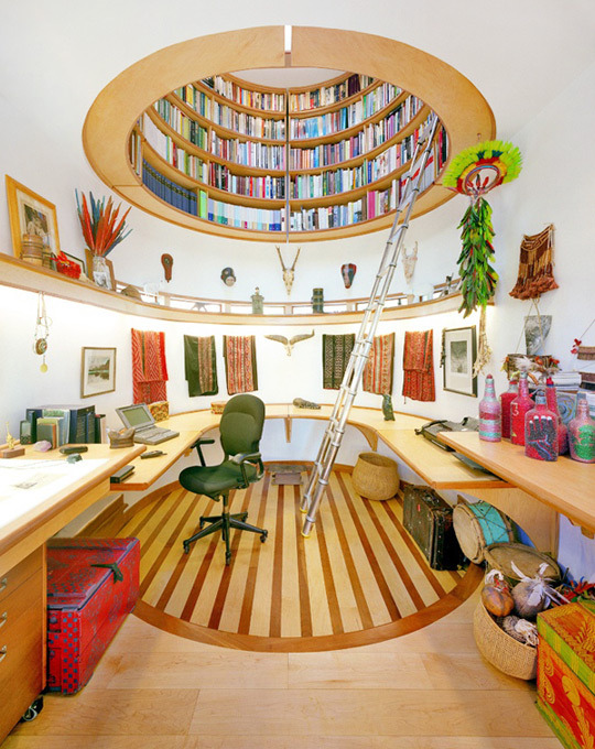 Home Office with Awesome Bookshelves
